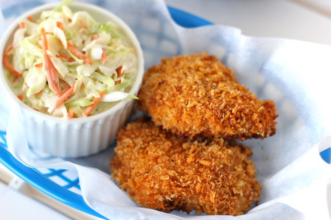 Oven-Fried Chicken with Homemade Coleslaw - These chicken thighs are so crisp, no one will believe you when you tell them it's been baked!