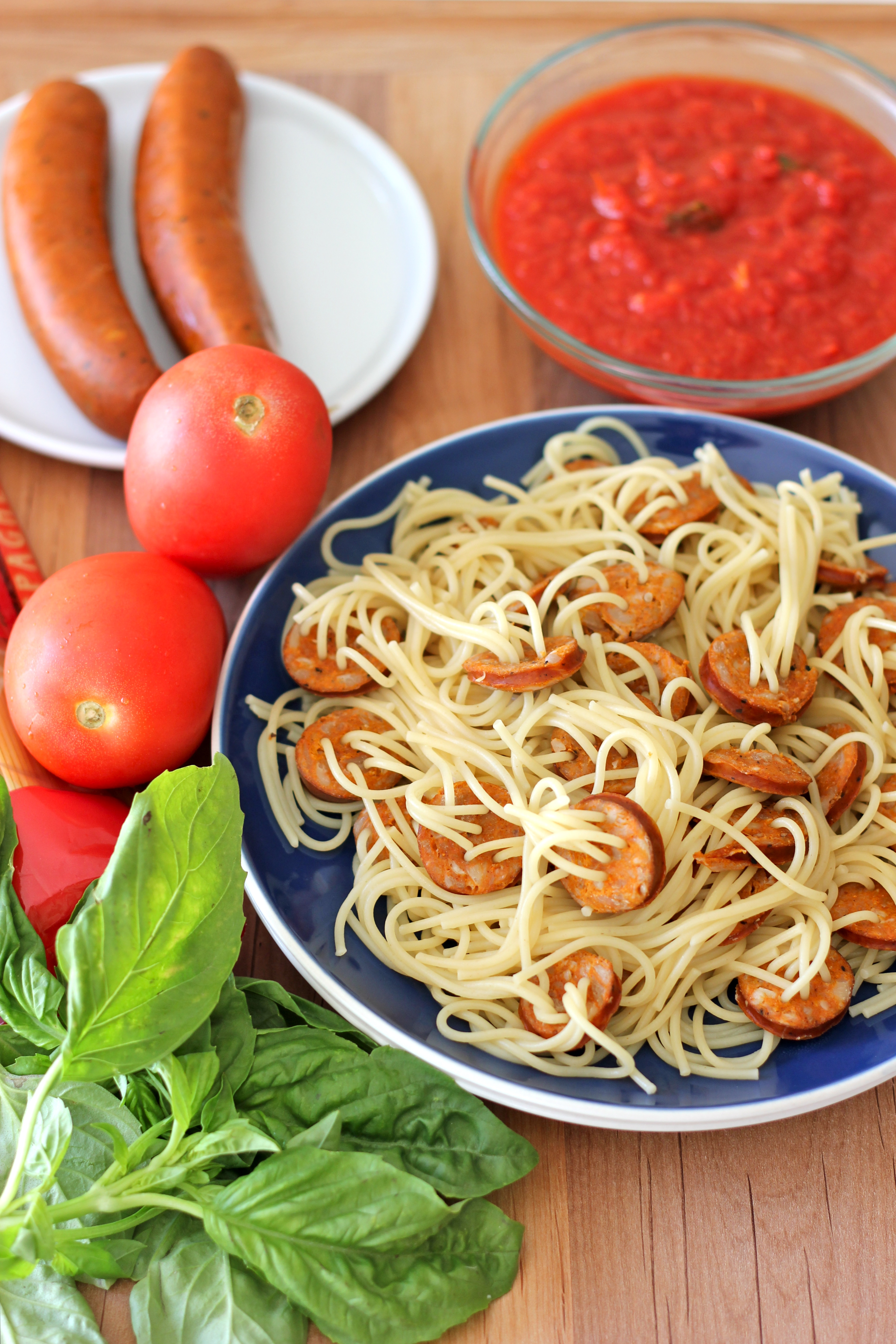 Threaded Spaghetti Hot Dog Bites with Homemade Marinara Sauce