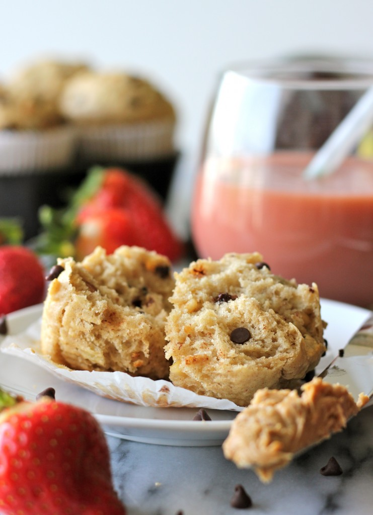 ... banana muffins loaded with peanut butter and indulgent chocolate chips