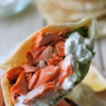 Broiled Salmon Gyros with Cucumber Feta Yogurt Dip