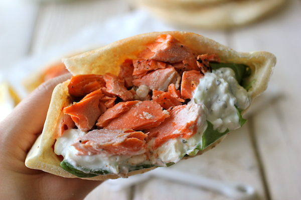 Broiled Salmon Gyros with Cucumber Feta Yogurt Dip - Damn Delicious