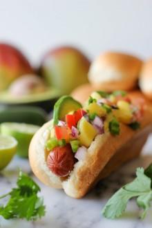 Hawaiian Hot Dogs with Mango Salsa