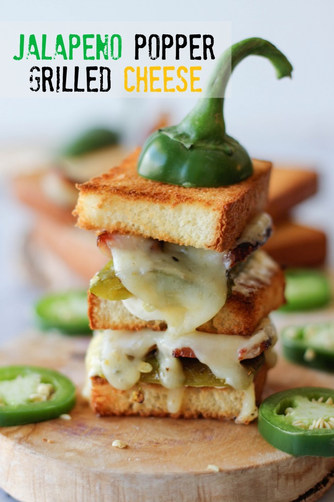 Jalapeno Popper Grilled Cheese - Roasted jalapeño neatly tucked in a 2-tier sandwich!