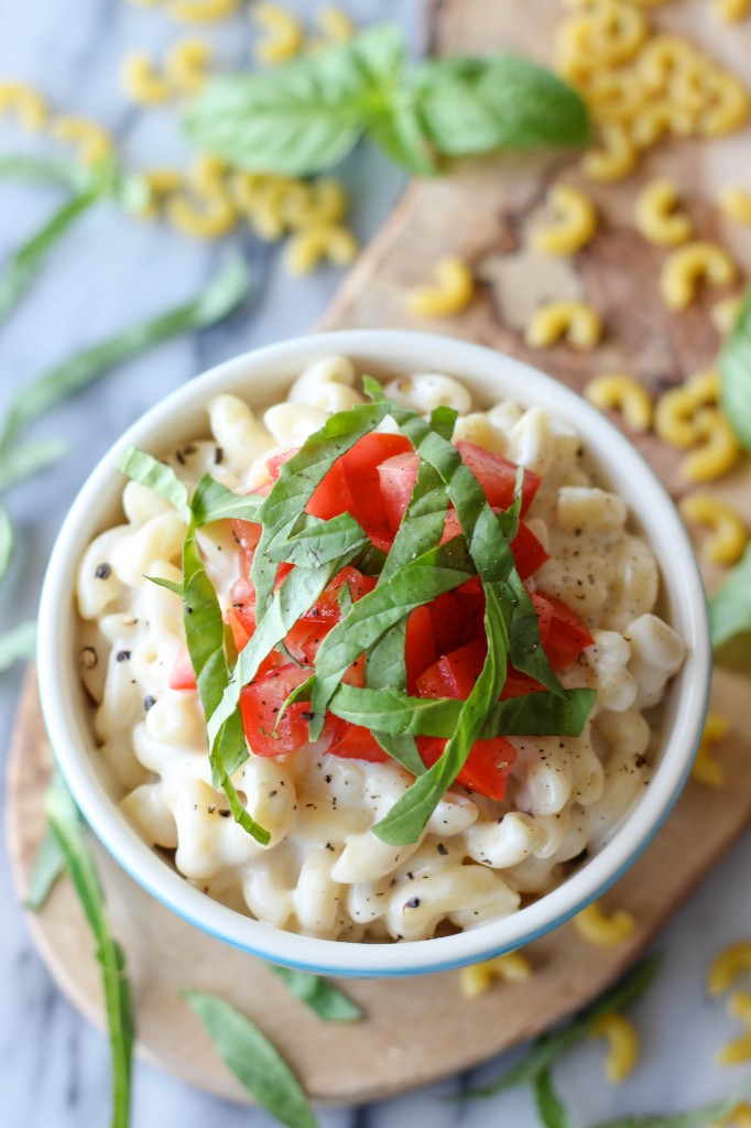 Caprese Mac and Cheese - Velvety macaroni and cheese, caprese style, with fresh mozzarella, Roma tomatoes and basil leaves!
