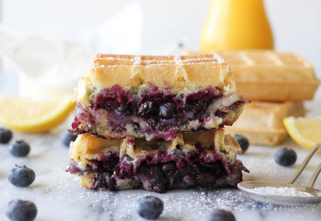 Brie and Blueberry Waffle Grilled Cheese - The perfect grilled cheese for breakfast!