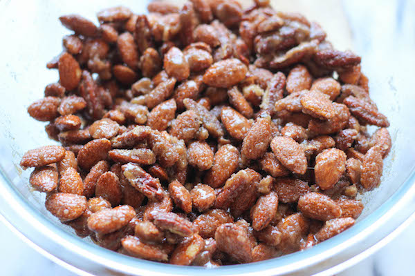 Cinnamon Sugar Candied Nuts - You won't believe how easy this is to make, and it's the perfect budget-friendly gift for family and friends!