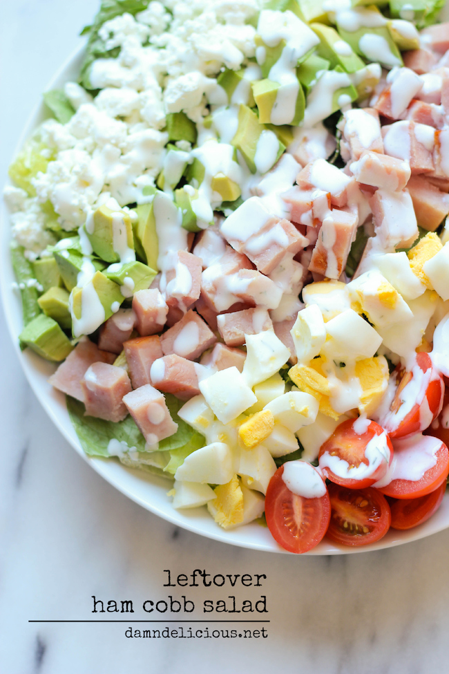 Leftover Thanksgiving Ham Cobb Salad - Use up your leftover ham in this glorious cobb salad with a healthy Greek yogurt ranch dressing!