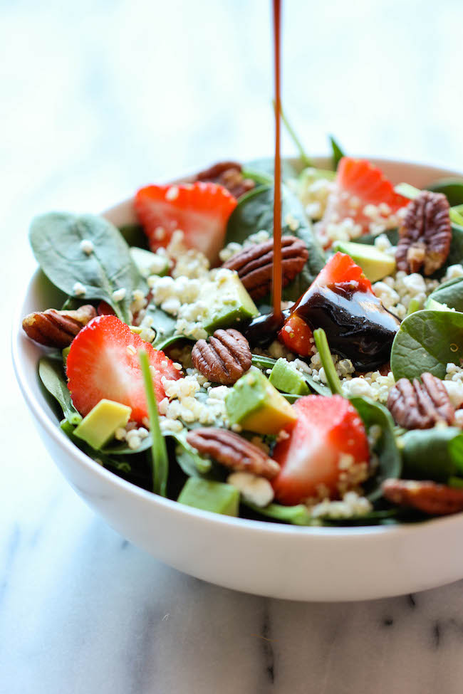 Strawberry Quinoa Salad + 20 other healthy quinoa salad recipes to try this spring!
