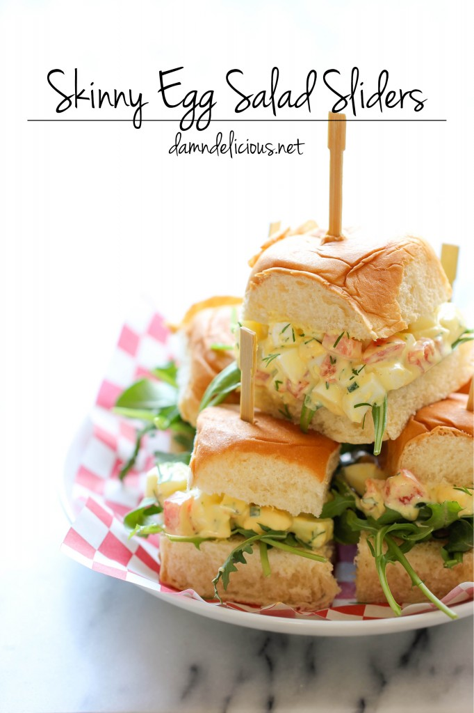 Skinny Egg Salad Sliders - Cut back on the calories with these healthy Greek yogurt egg salad sliders on sweet Hawaiian rolls!