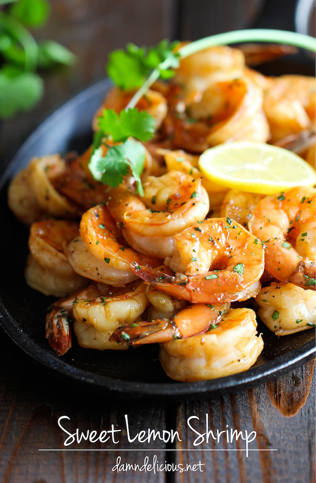 Sweet Lemon Shrimp - The easiest, most simple and flavorful shrimp marinated in a sweet and tangy lemon sauce that everyone will love!