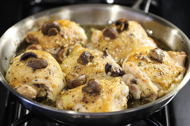 ... crisped up chicken thighs, I decided to throw them into the skillet