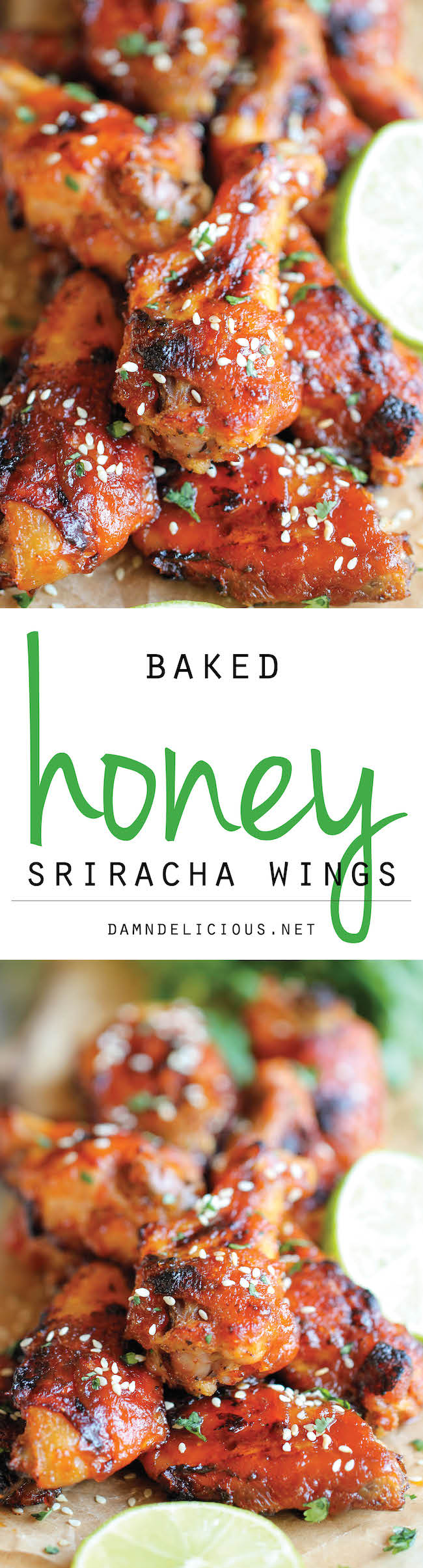 Baked Honey Sriracha Wings - An amazing combination of sweetness and ...