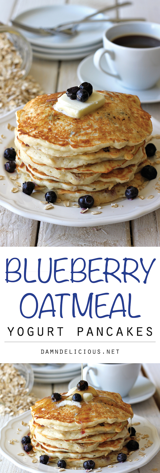 Blueberry Oatmeal Yogurt Pancakes - Start your mornings off right with ...