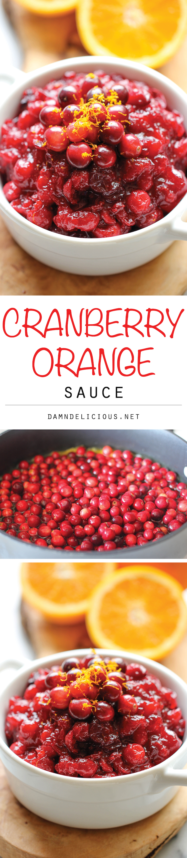 Cranberry Orange Sauce - Skip the canned cranberry sauce and make it right at home. It's embarrassingly easy with just 3 ingredients!