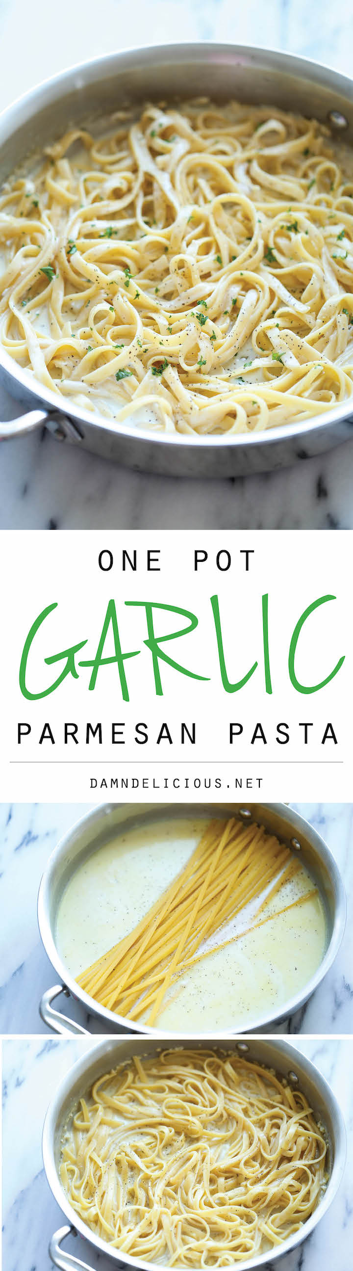 One Pot Garlic Parmesan Pasta - The easiest and creamiest pasta made in a single pot - even the pasta gets cooked right in the pan! How easy is that?