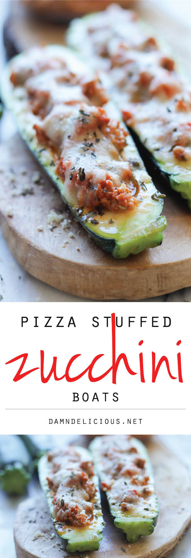 Pizza Stuffed Zucchini Boats - These healthy zucchini boats offer cheesy comfort without the guilt!