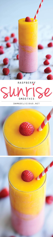 Raspberry Sunrise Smoothie - 4-ingredient raspberry mango smoothie ...