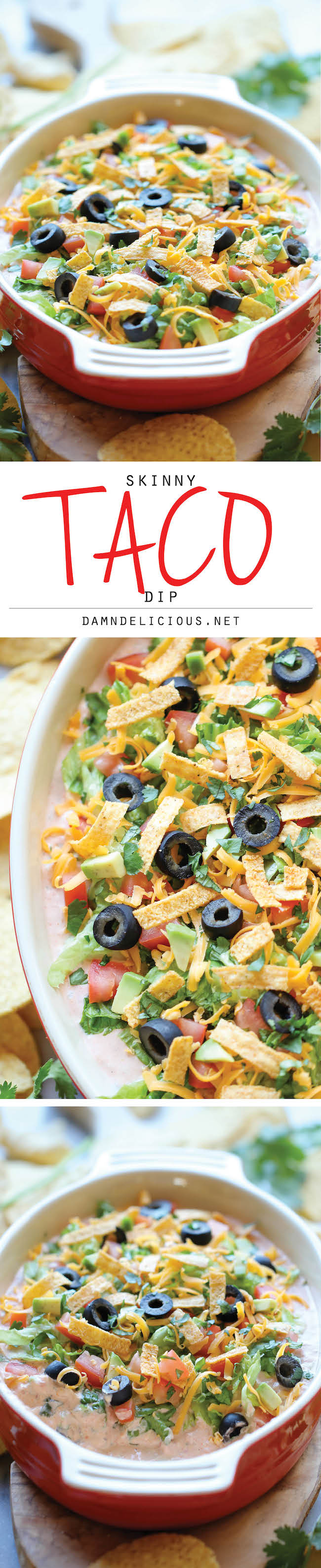 Skinny Taco Dip - Skip the guilt in this lightened up, super easy, 10 ...