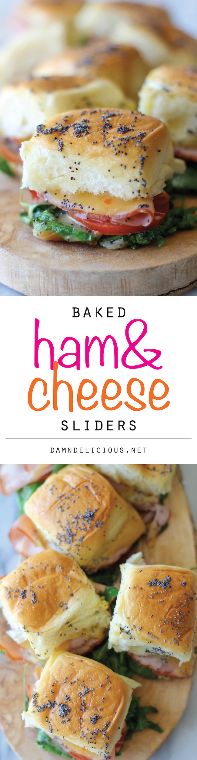 Baked Ham and Cheese Sliders - These sliders are popped in the oven until they're completely buttery and oozing with melted cheese!