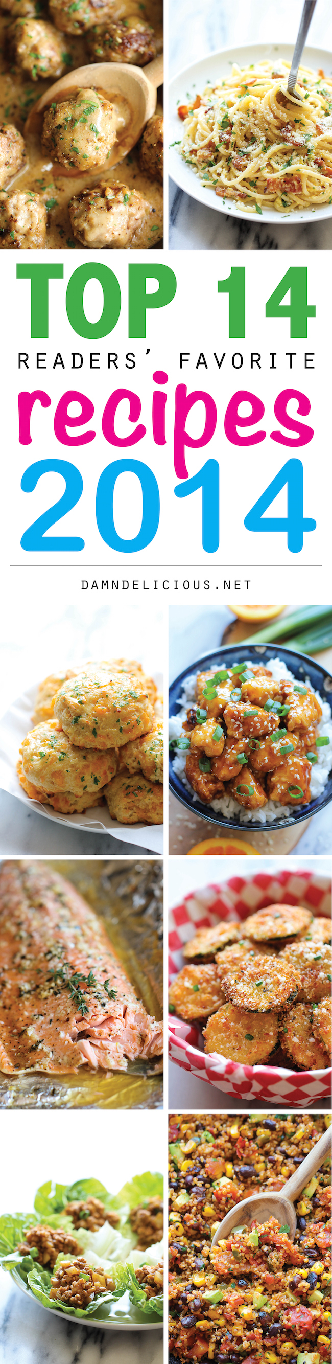 Top 14 Recipes of 2014 - From the teriyaki salmon to the parmesan zucchini, these recipes are the best of the best from 2014!