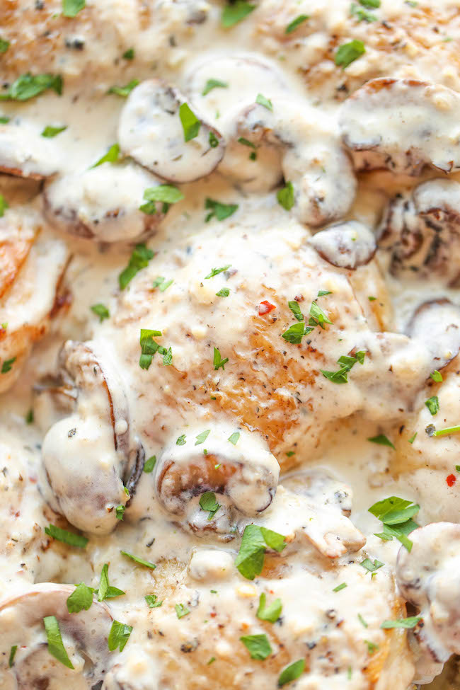 Chicken with Creamy Mushroom Sauce - Crisp-tender chicken baked to  perfection, smothered in