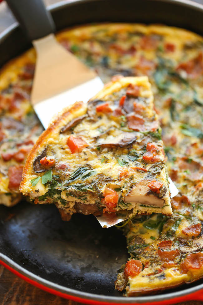 Bacon Mushroom Spinach Frittata - So quick, so easy and so perfect as ...