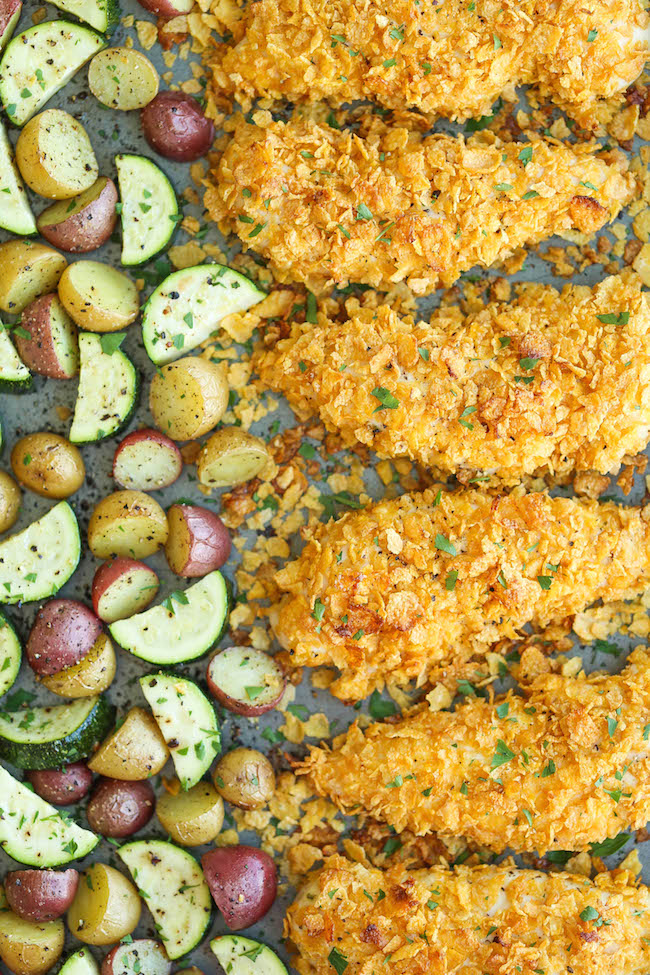 Baked Ranch Chicken Tenders and Veggies - No one will ever believe that these crisp chicken fingers are completely baked and cooked on ONE PAN with veggies!