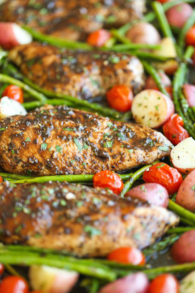 Honey Balsamic Chicken Breasts and Veggies - All cooked on one single pan. Easy peasy with zero clean up, and packed with so much flavor. Done and done.