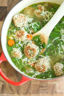 Turkey Meatball and Spinach Soup
