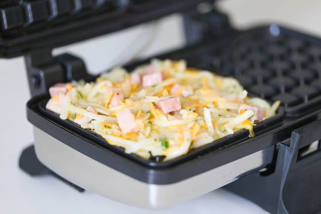 Ham and Cheese Hashbrown Waffles - Crunchy, yet silky smooth ...