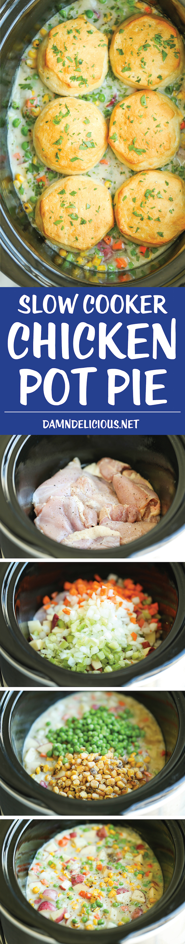 Slow Cooker Chicken Pot Pie - The easiest pot pie recipe ever made right in the crockpot from scratch - no condensed cream of chicken soup here!