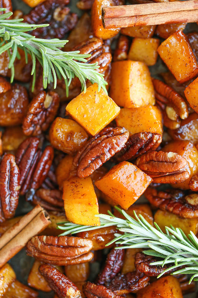 Cinnamon & Pecan Roasted Butternut Squash -- PLUS 30 other thanksgiving side dish recipes for your holiday