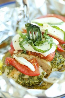 Pesto Caprese Chicken in Foil