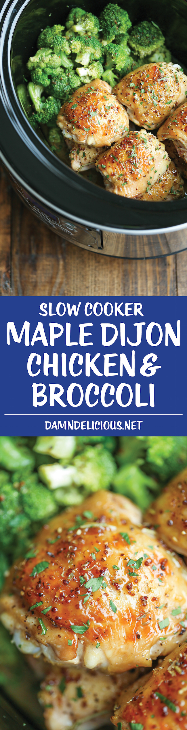 Slow Cooker Maple Dijon Chicken and Broccoli - Sweet, tangy and packed with so much flavor, made right in your crockpot! It just doesn't get any easier!