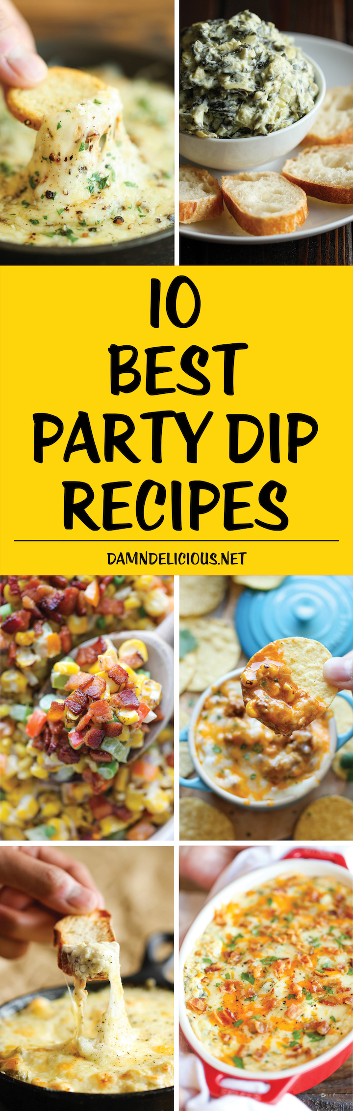 10 Best Party Dip Recipes - The absolute best and easiest cheesy, creamy dips for all your entertaining needs! Everyone will be begging for the recipes!