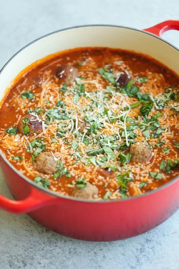 Meatball And Spaghetti Soup Recipe — Dishmaps