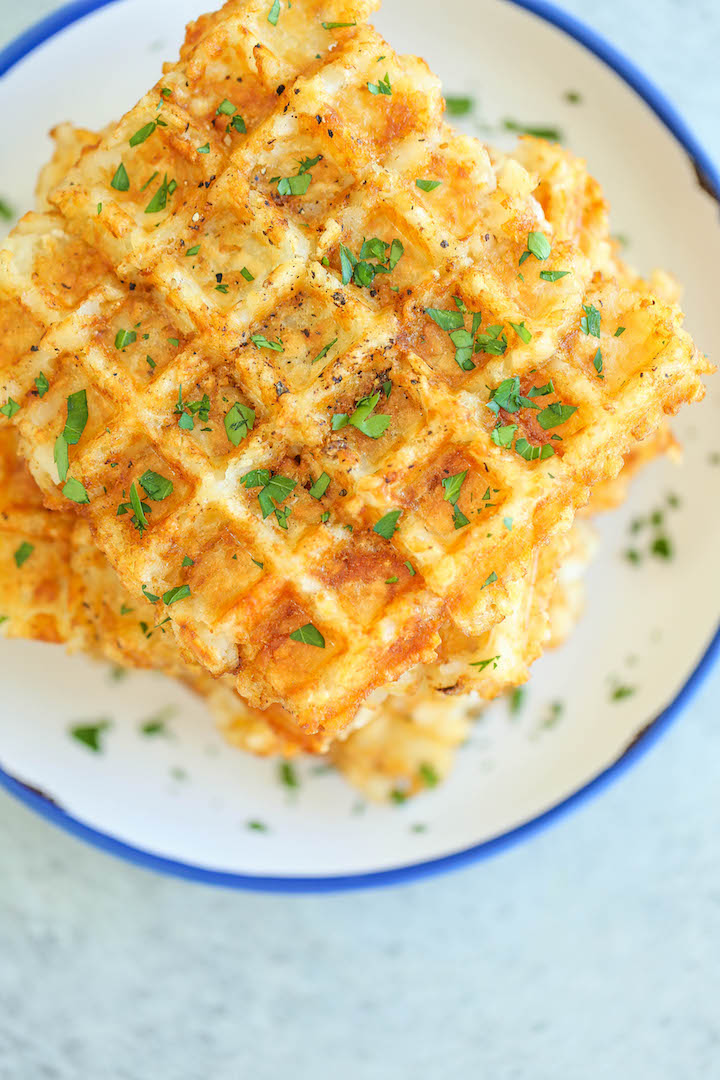 Tater Tot Waffles - Yes, you can turn tater tots into the BEST WAFFLES ever using a waffle iron! Seriously. Breakfast doesn't get any easier, or tastier!!