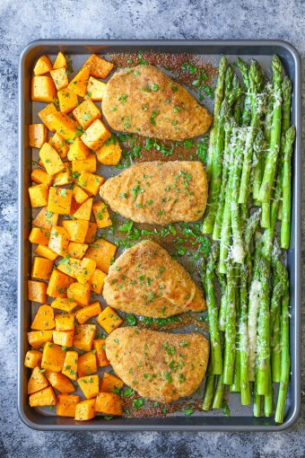 One Pan Baked Chicken with Butternut Squash and Parmesan Asparagus