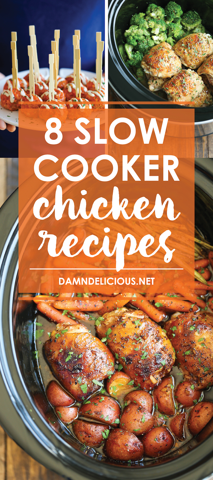 8 Slow Cooker Chicken Recipes - No more boring chicken dinners! With the help of your crockpot, set it and forget it for the BEST/easiest chicken dinners!