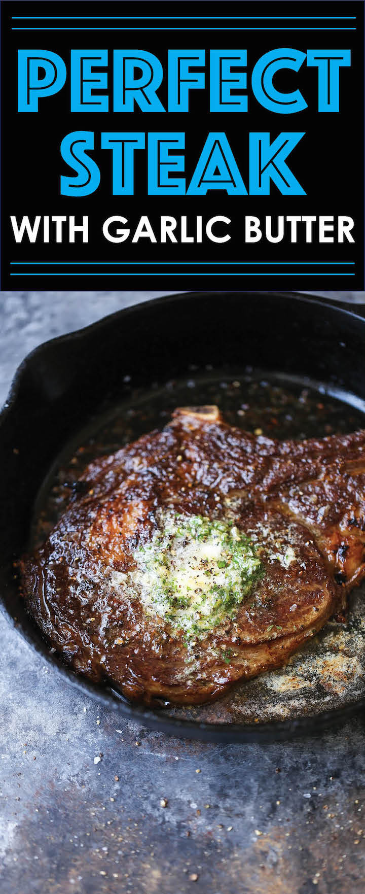The Perfect Steak with Garlic Butter - Here are my tips and tricks - I promise though - it's so easy! And that melted garlic butter on top is to die for!!!!