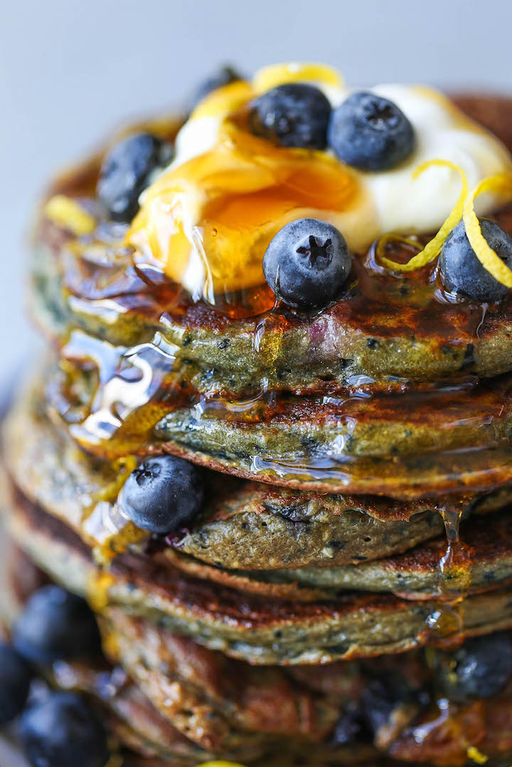Blueberry Blender Pancakes - Make breakfast even easier by making your batter in the blender! No whisk/bowl needed. Simply pour right from the blender!