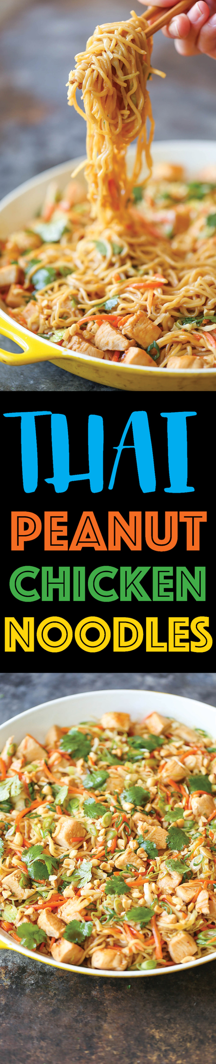 Thai Peanut Chicken Noodles - The quickest noodle dish you could ever whip up in less than 30 minutes. Full of flavor, and can be served as a side or main!