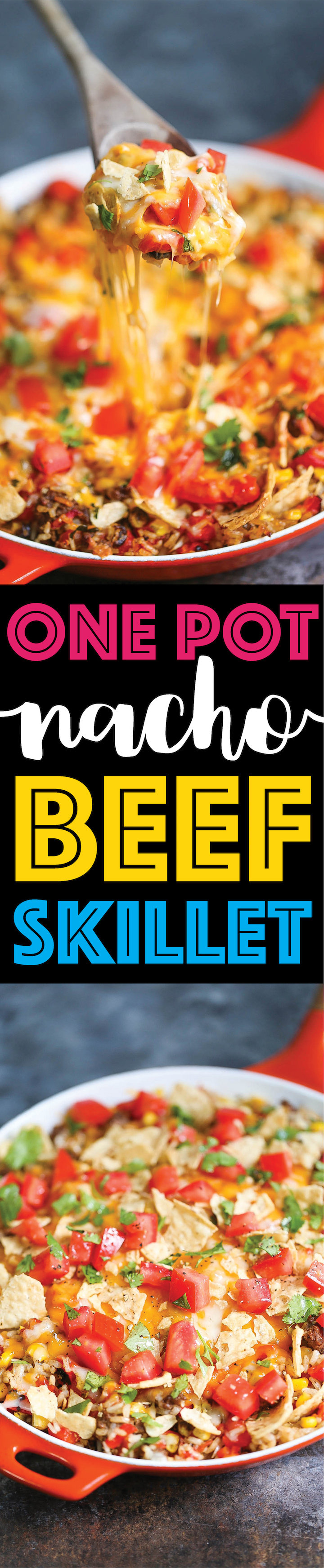 One Pot Nacho Beef Skillet - A 30 minute ground beef skillet dinner where you only need to dirty up ONE PAN! With corn, tomatoes, bell peppers and cheese!