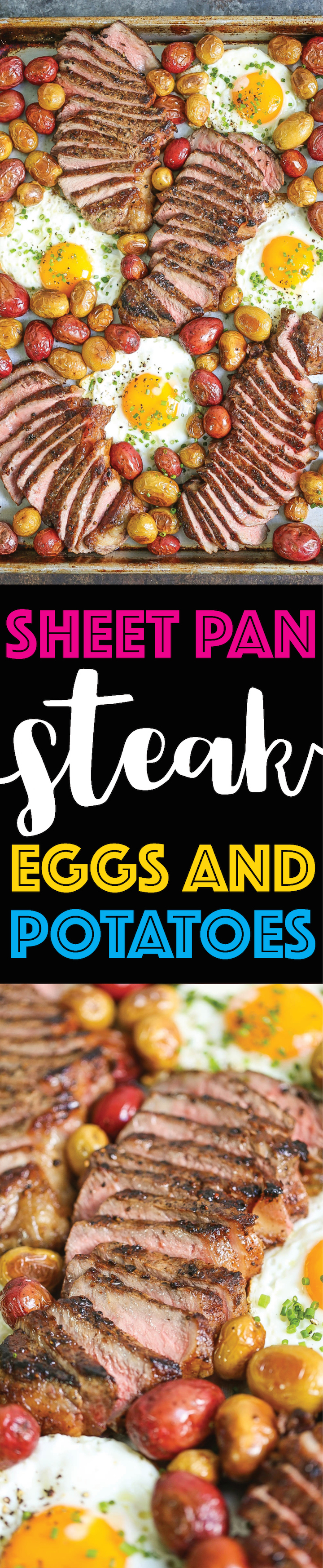 Sheet Pan Steak Eggs and Potatoes - Everyone's favorite steak and eggs turned into a complete SHEET PAN BREAKFAST! No fuss, no extra pans and easy clean up!