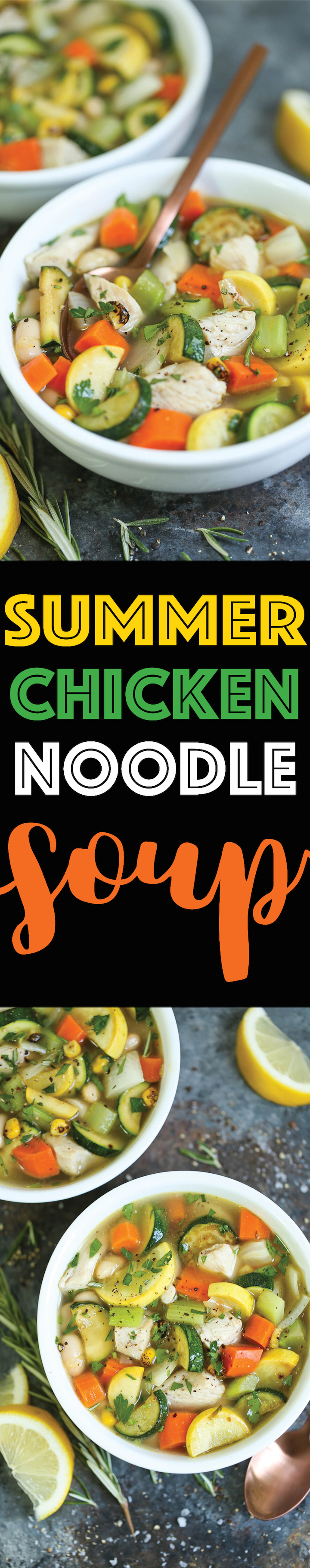 Summer Chicken Noodle Soup - Everyone's favorite classic chicken noodle soup using summer vegetables! So hearty, comforting and cozy, even in the heat!