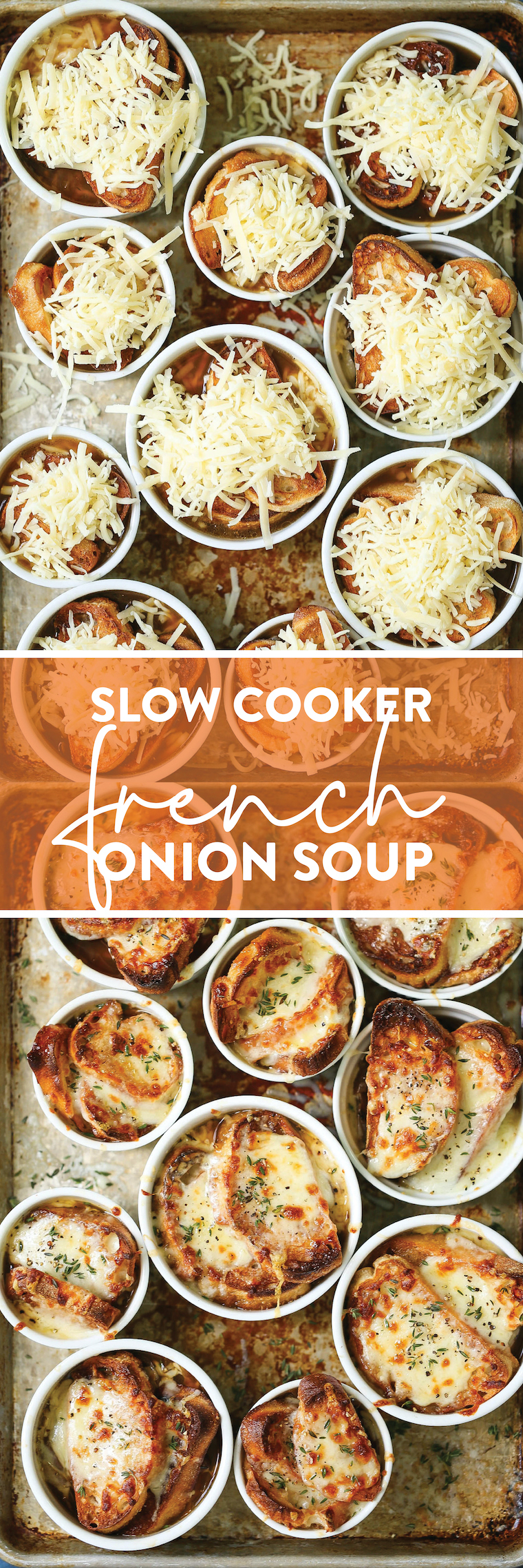 Slow Cooker French Onion Soup - Yes, you can make French onion soup in the crockpot! Ridiculously easy with basically no stirring and no work!