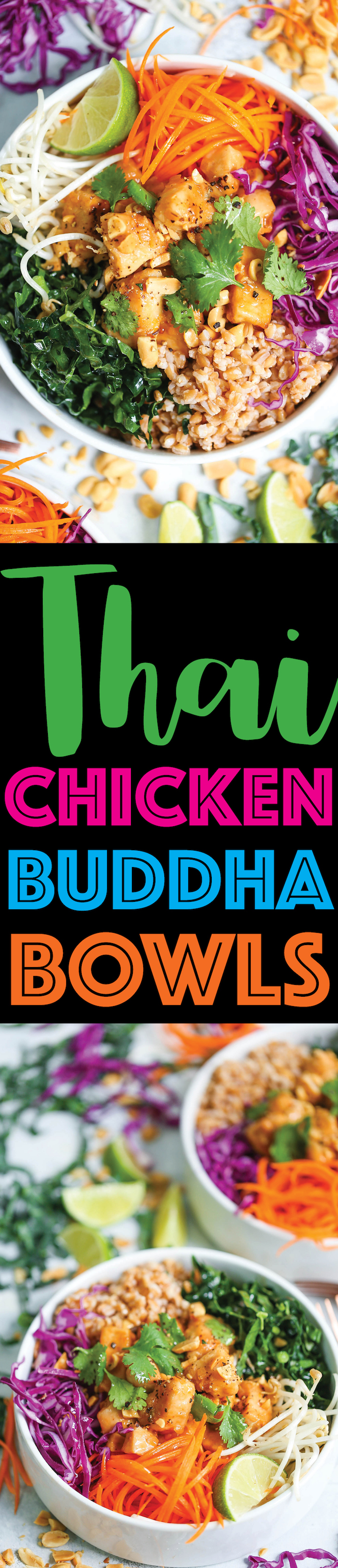 Thai Chicken Buddha Bowls - Healthy, hearty and nutritious bowls filled with whole grains, plenty of veggies, and a simple peanut sauce that is absolutely to die for!