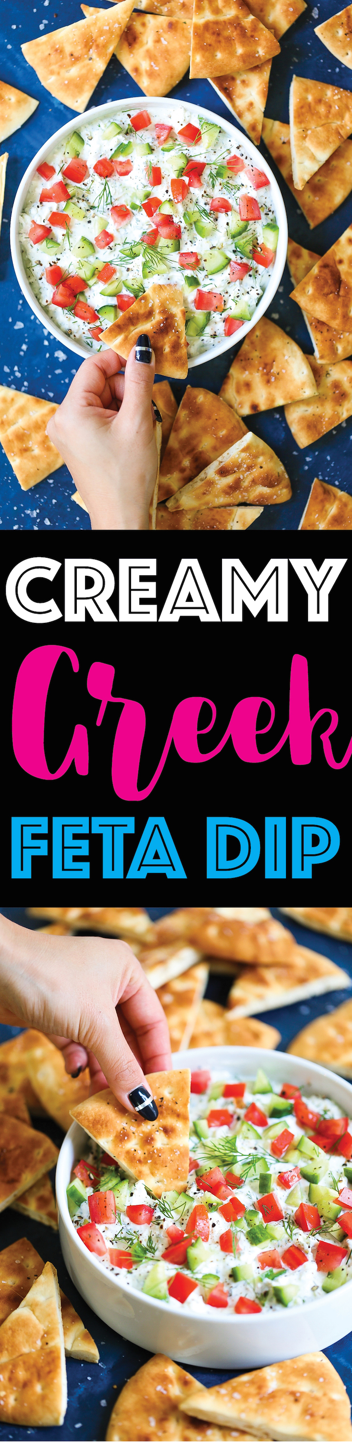 Creamy Greek Feta Dip - Such a simple yet creamy, satisfying dip that everyone will go crazy for! Takes just 15 minutes (or less) to whip up using feta, cream cheese, Greek yogurt, lemon juice and fresh herbs! You can even make this ahead of time and chill for up to 2 days! Serve with pita chips.