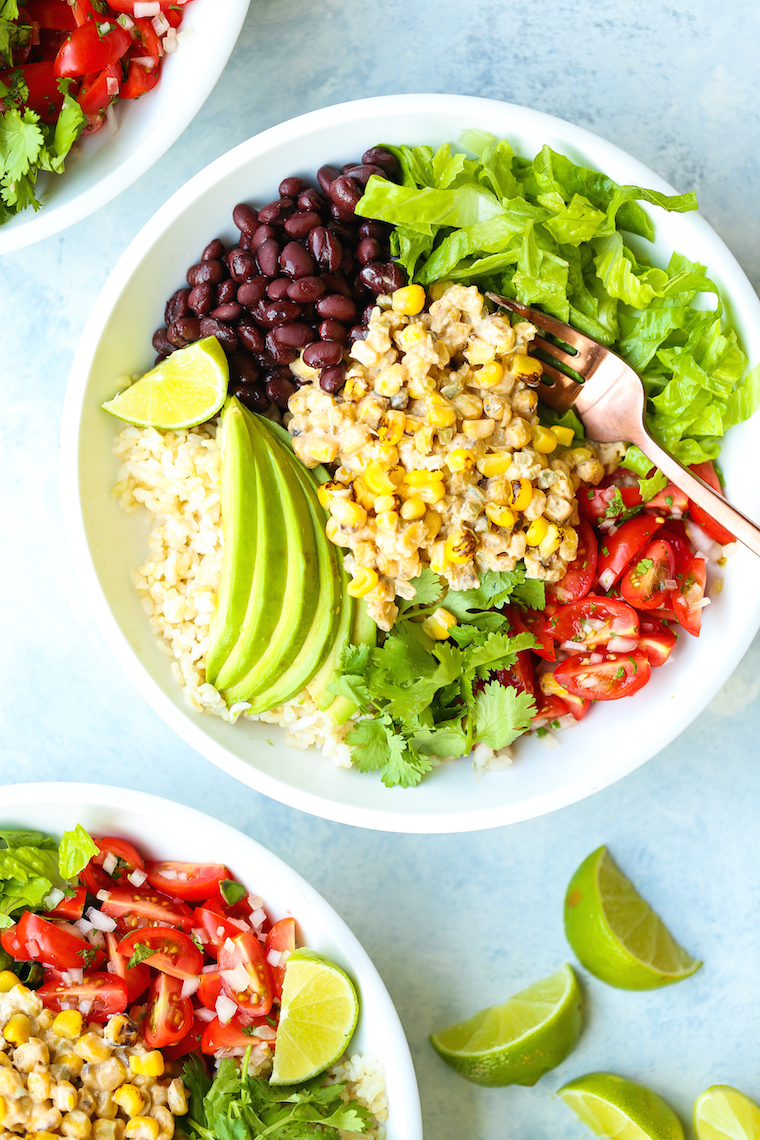 Mexican Street Corn Bowls - Mexican elote is served up right in these hearty bowls with whole grains, pico de gallo, black beans, avocado and so much more!