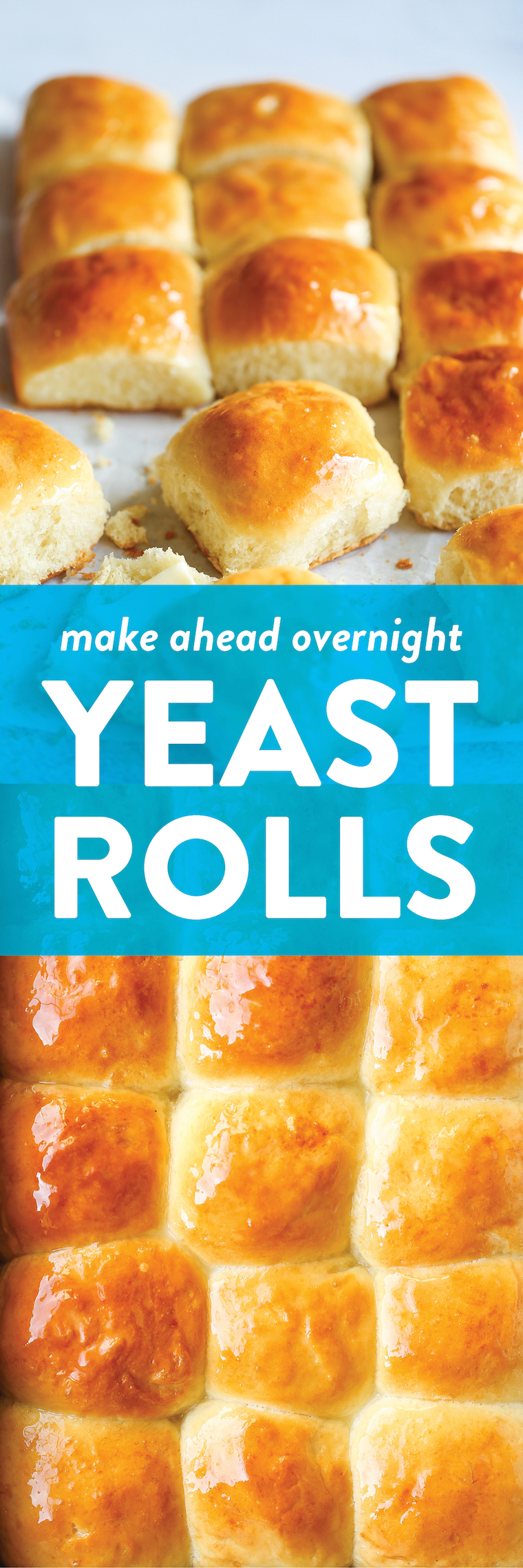 Make Ahead Yeast Rolls - Make-ahead overnight dinner rolls? YES, PLEASE! And they come out amazingly soft + buttery. I bet you can't stop with just 1 roll!
